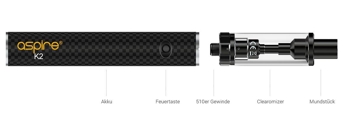 Aspire K2 E-Zigaretten Starter Set detail