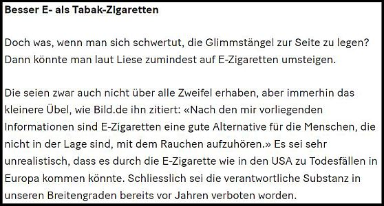 Besser E-Zigarette als Tabakzigarette