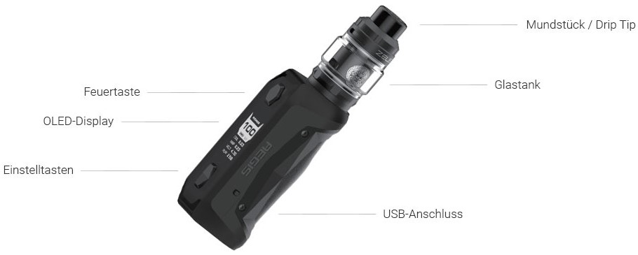 Aegis Solo Akkuträger mit maximal 100 Watt Ausgangsleistung im Detail