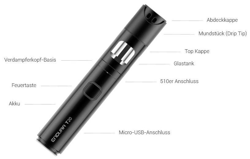 Innokin Endura T20 1000mAh E-Zigaretten Set im Detail