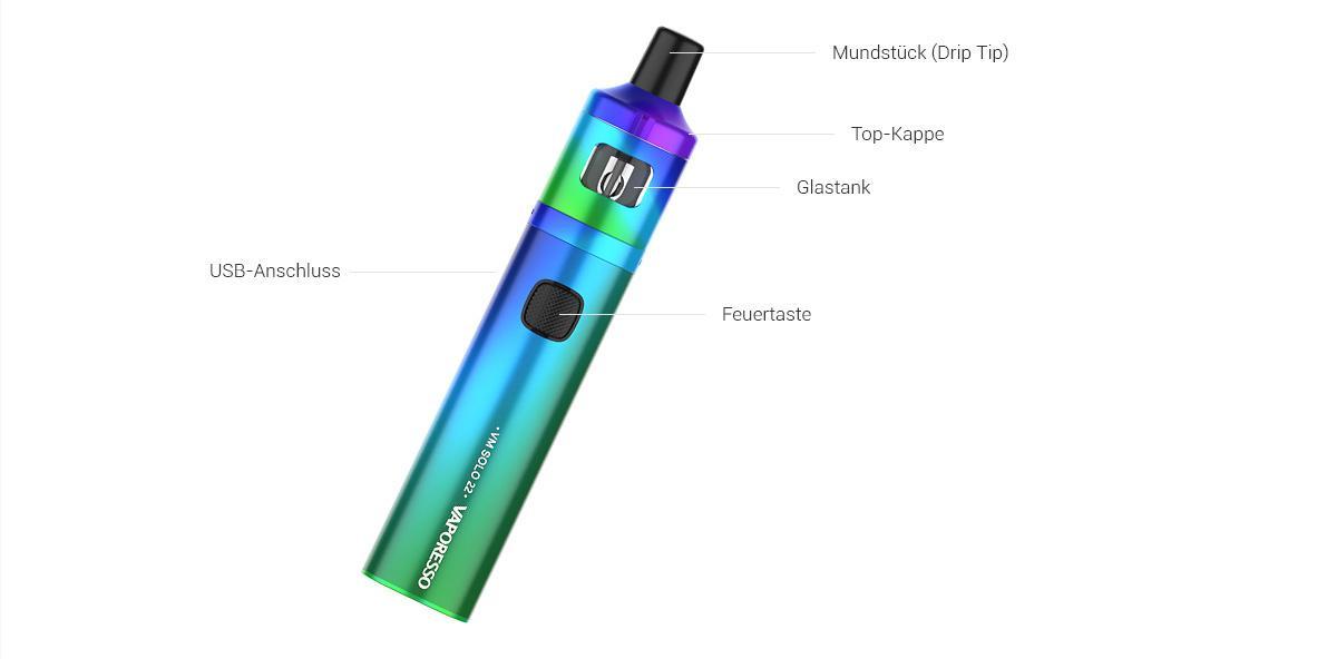 Das VM Solo 22 E-Zigaretten-Set von Vaporesso Detail